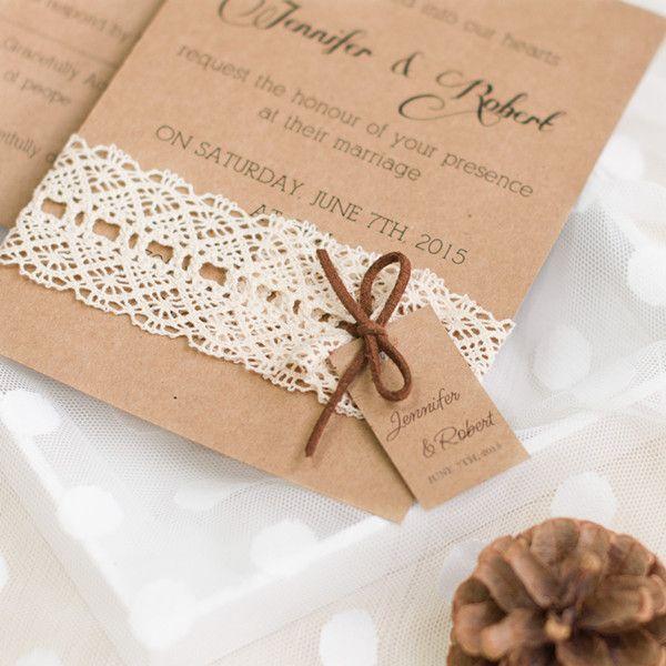 Faire part de mariage de la dentelle en papier brun épais JM704 A partir de 1.70€ faire part de mariage pas cher, sur mesure – joyeuxmariage.fr – Emmanuelle Degeuse