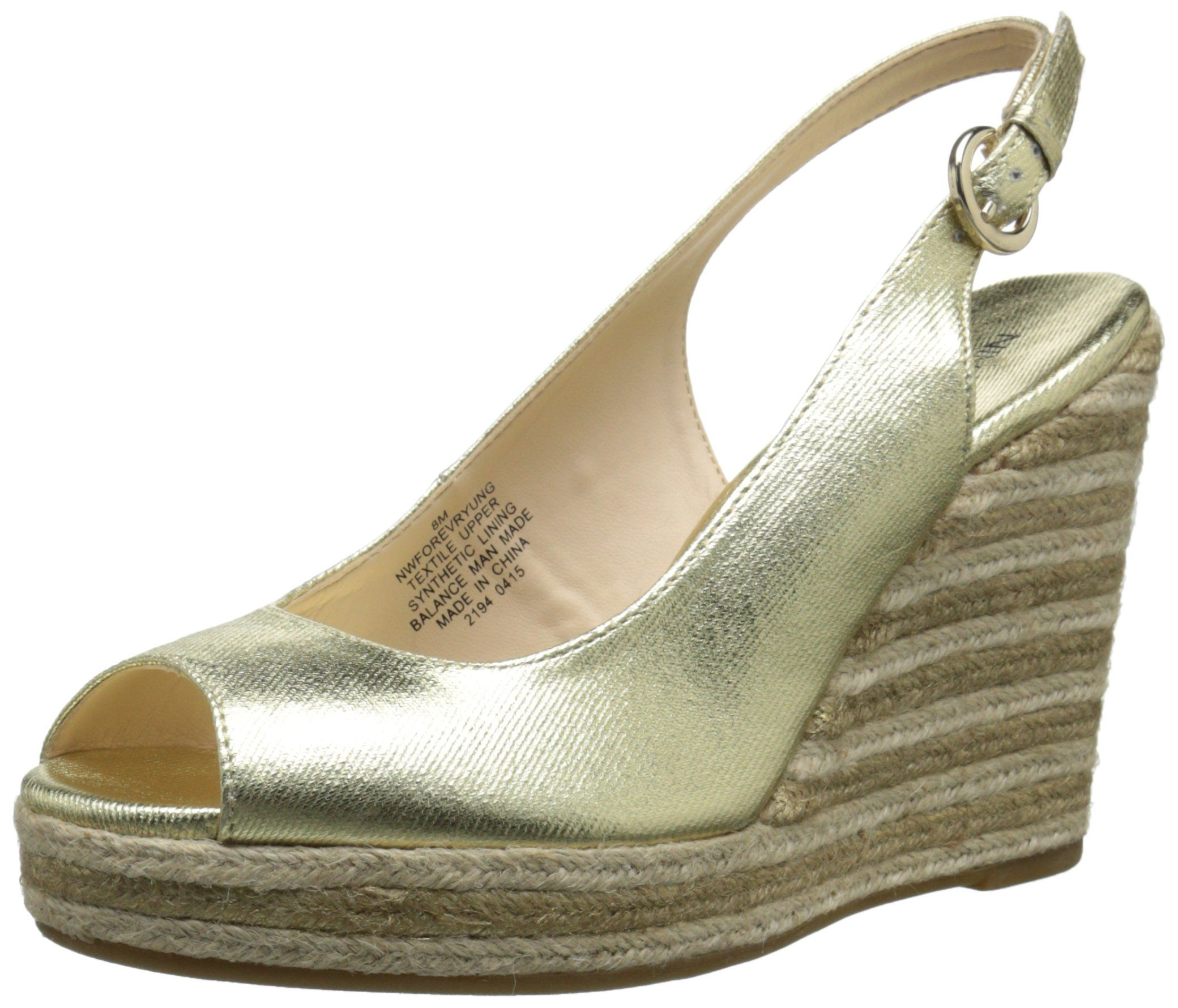 Nine West Women's Forevryung Synthetic Wedge Sandal, Light Gold/Multi, 10 M  US