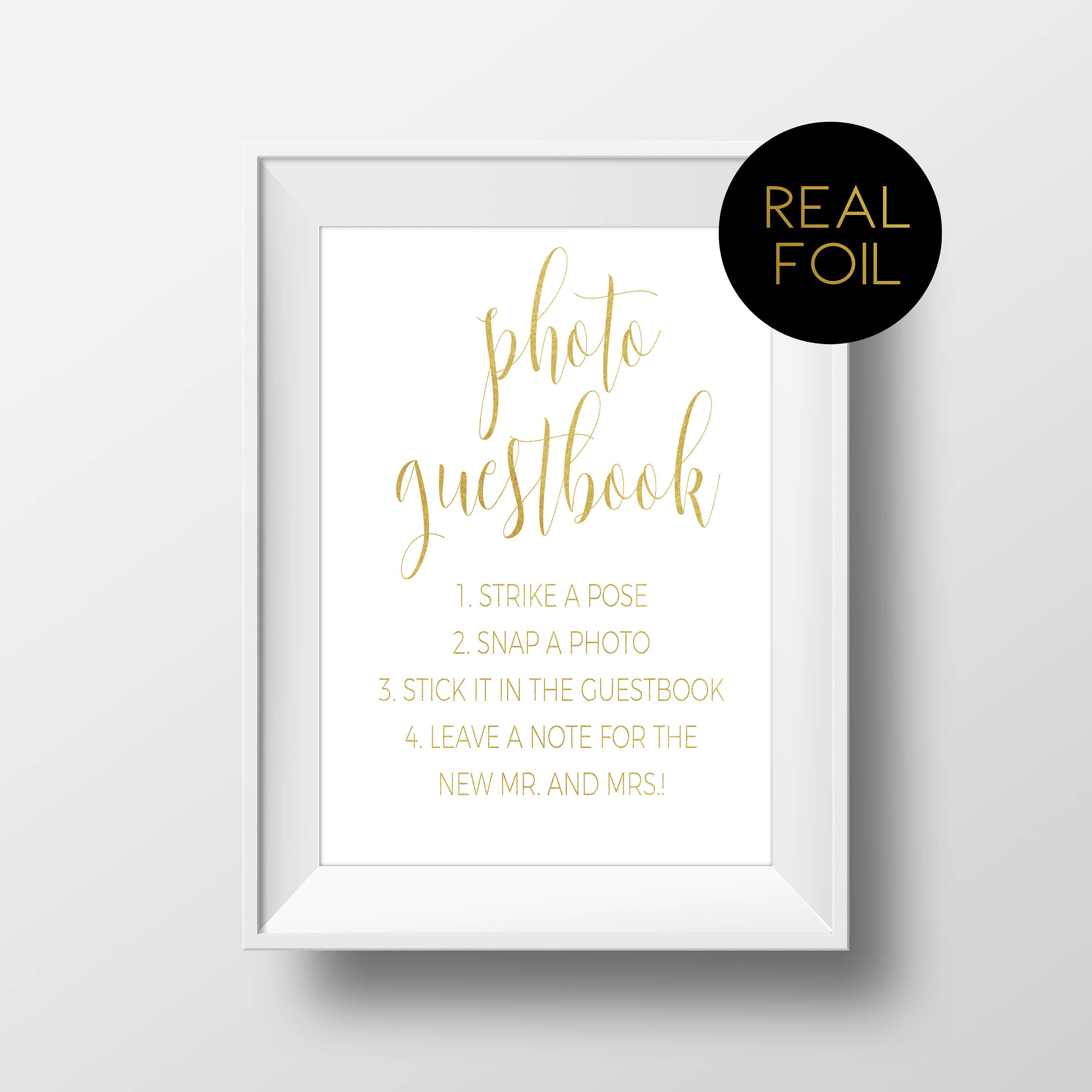 guest book sign gold wedding gold signs polaroid guestbook Photo guest book