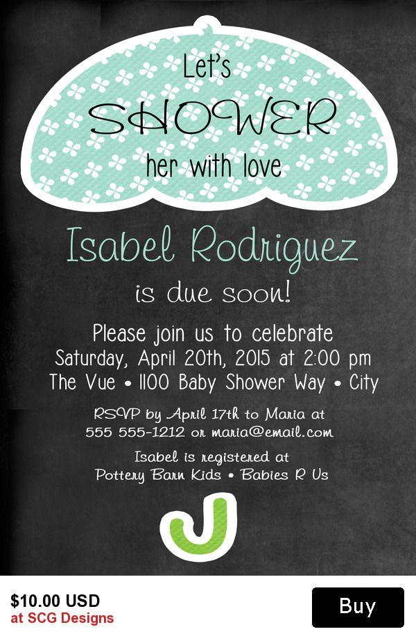 Umbrella Baby Shower Invitation-1 Sided