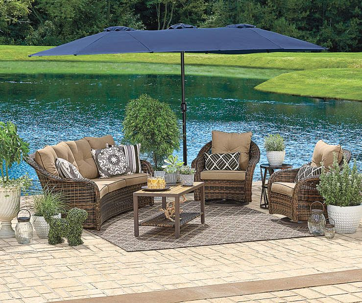 Wilson Fisher Triple Vent Market Patio Umbrellas 15 Patio Umbrellas Patio Blue Patio