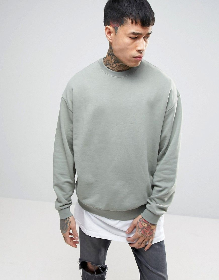 Asos Oversized Sweatshirt In Washed Khaki Green Mens Sweatshirts Hoodie Asos Menswear Hooded Sweatshirt Men [ 1110 x 870 Pixel ]