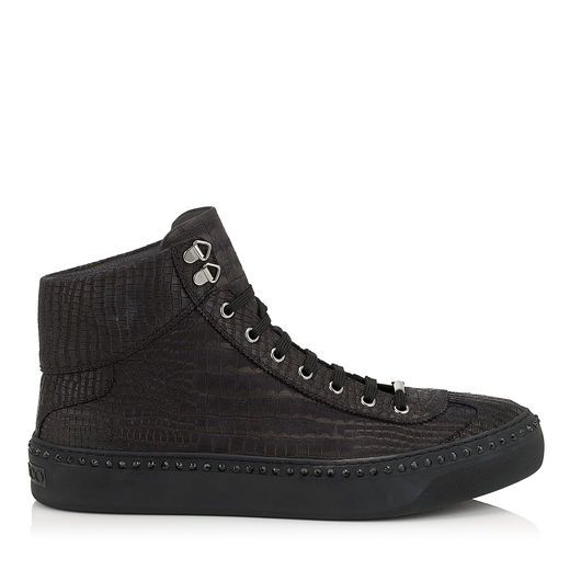 JIMMY CHOO Argyle Black Croc Printed Nubuck With Steel Crystals High Top Trainers. #jimmychoo #shoes #s