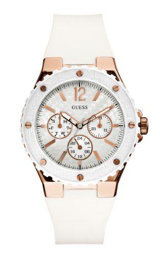 21e5bdd1879 GUESS Women s U12652L1 Carbon-Fiber Inspired White   Rose Gold-Tone Sport  watch