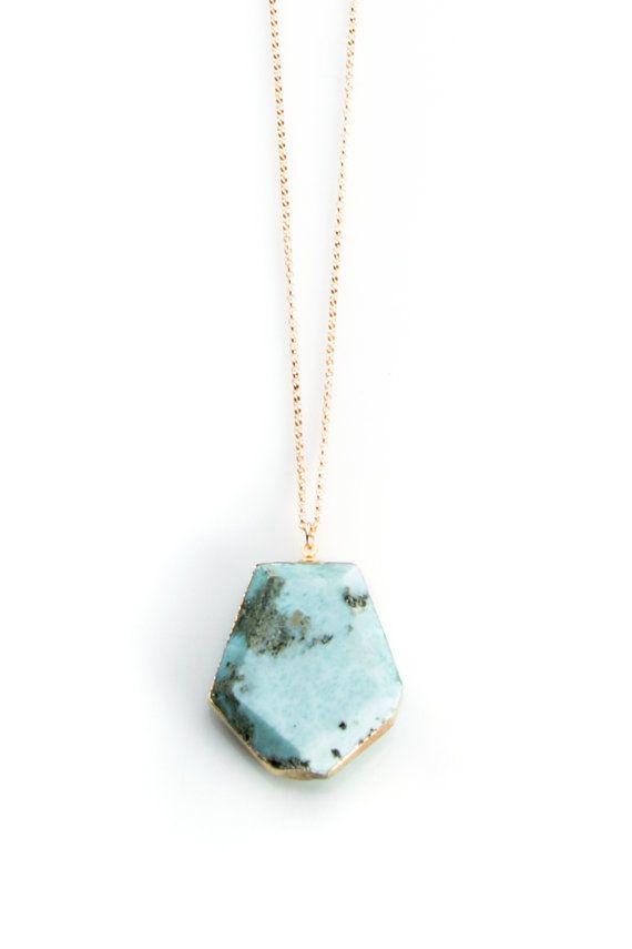 Larimar Stone Long Necklace on Gold filled chain by joydravecky. #jdjazure #pinittowinit #larimer