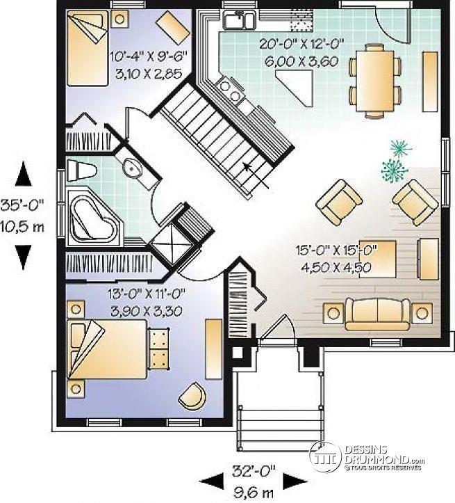 Plan de Rez-de-chaussée Plain-pied style château, 4 chambres, 2 s
