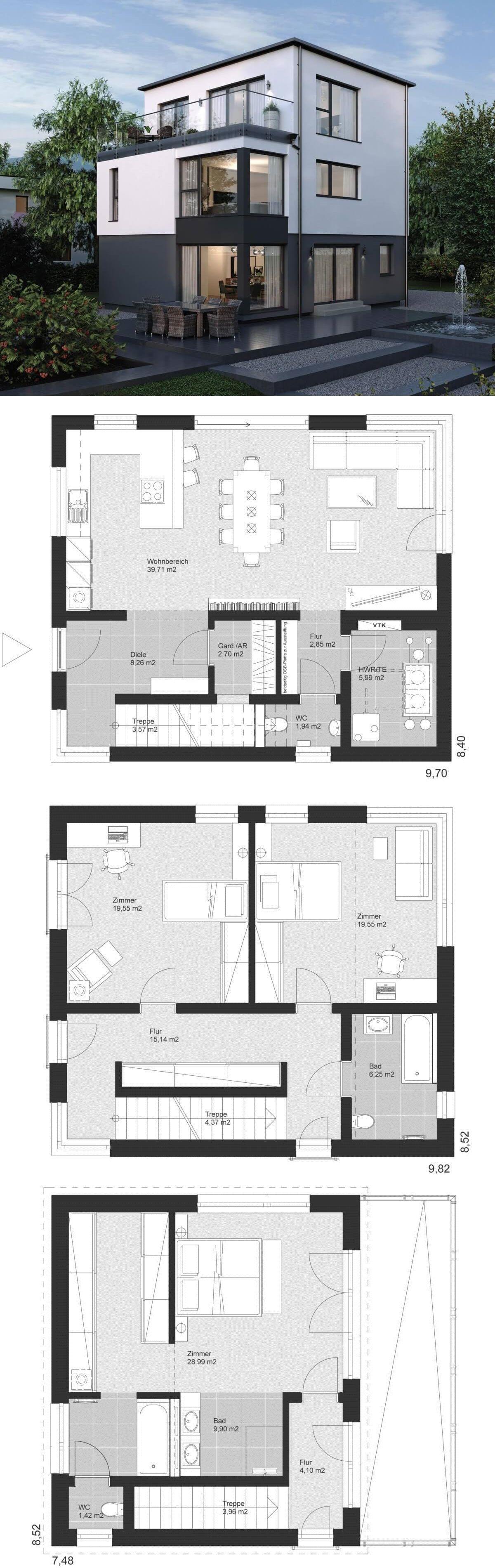 Modernes einfamilienhaus neubau grundriss mit flachdach for Grundriss einfamilienhaus 2 vollgeschosse