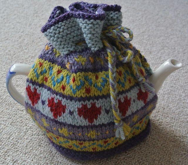 Hearts Fairisle Tea Cosy pattern by Sian Brown Knitwear Design | Tea ...