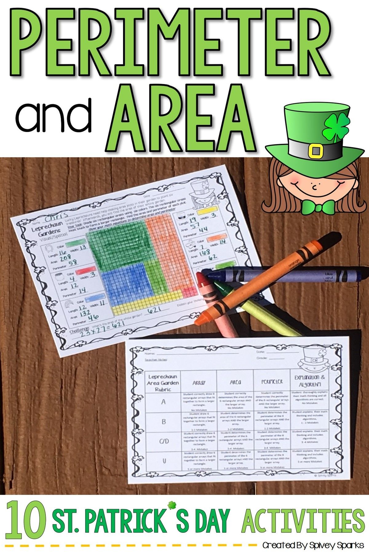 Area And Perimeter Worksheets St Patrick S Day Math