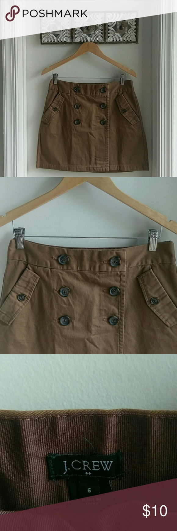 J. Crew Factory Sailor skirt Knee length khaki skirt in very good condition! First picture credited to J.crew.com for style inspiration... But very similar style.   Length 16in. J. Crew Factory Skirts