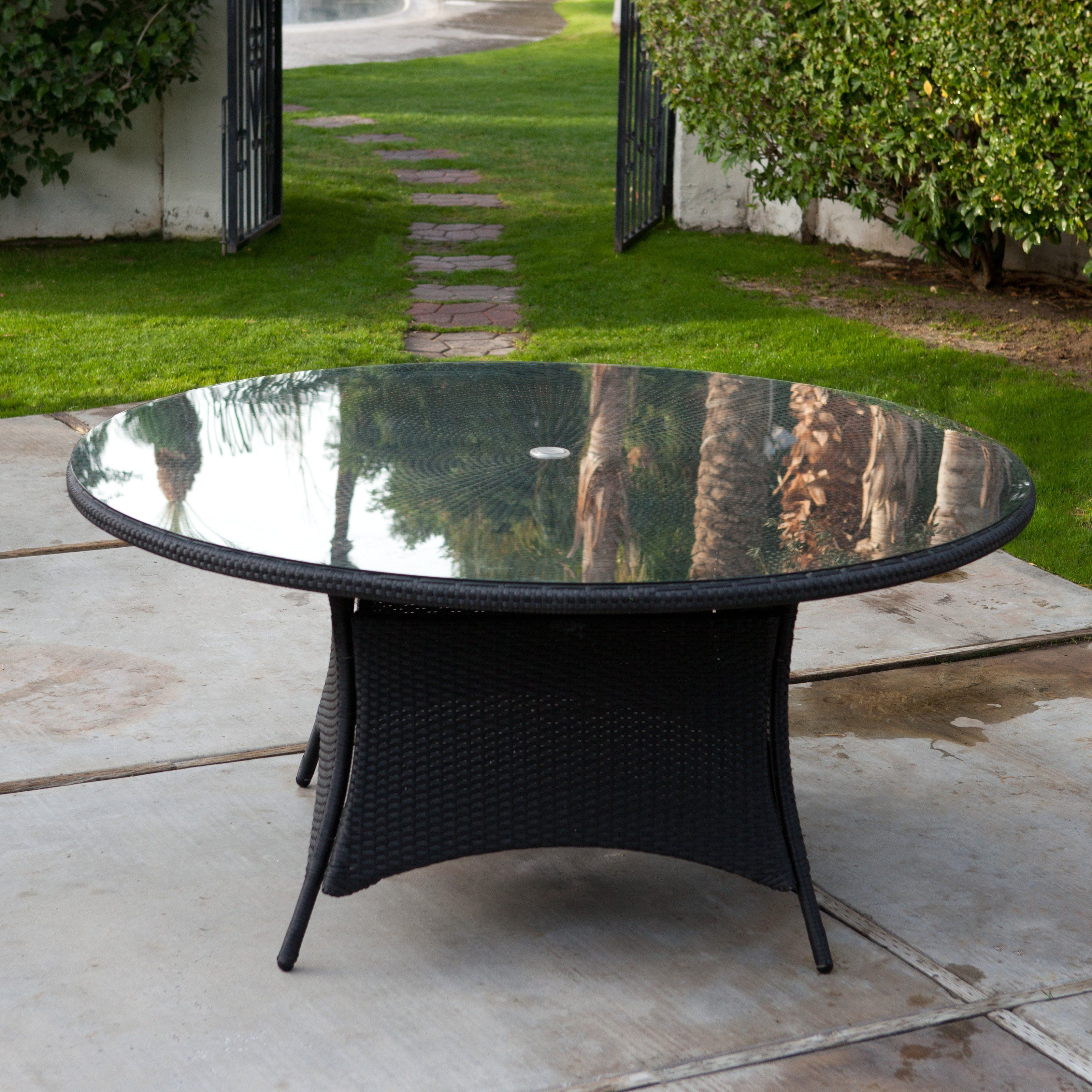 flat wicker round patio dining table