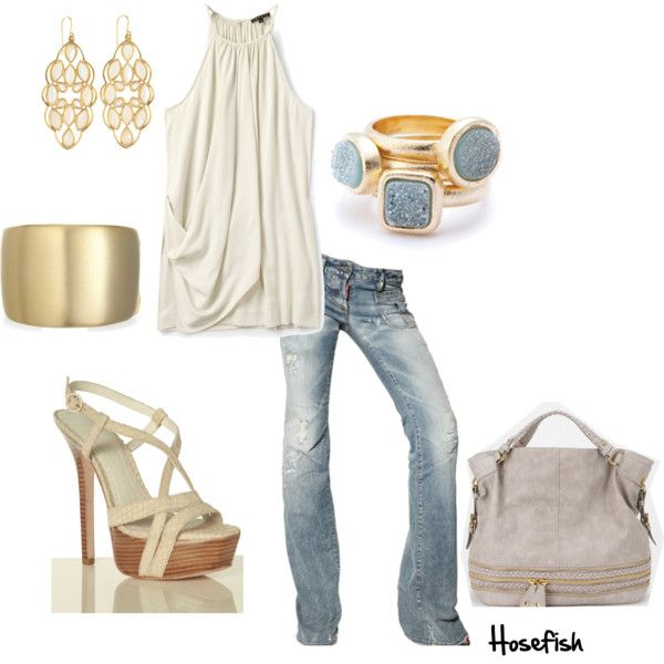 Love the gold accessories with the denim & white. Top is sold out, but I know without a doubt that all of you fashionistas out there can find a top just as cute:)
