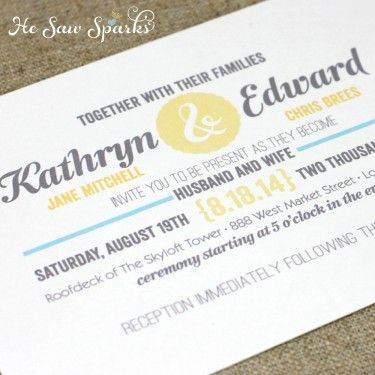 mix of layout text; ampersand on color block; first names in cursive - best of invitation name designs