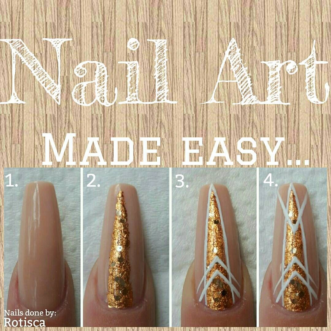 Love this look! Chunky gold and geometric patterns! Nail art made ...