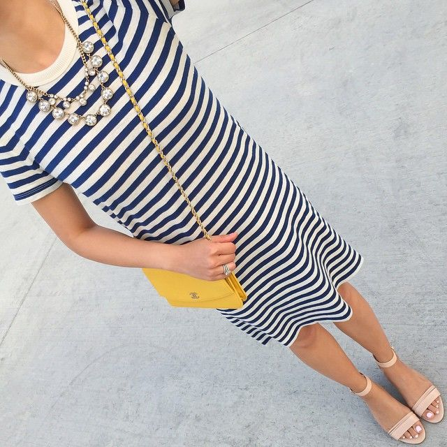 Saturday comfy stripes - I could live in this tee dress and it's under $50! Click the link in my profile to get outfit details!  www.liketk.it/1wy78 #liketkit @liketoknow.it