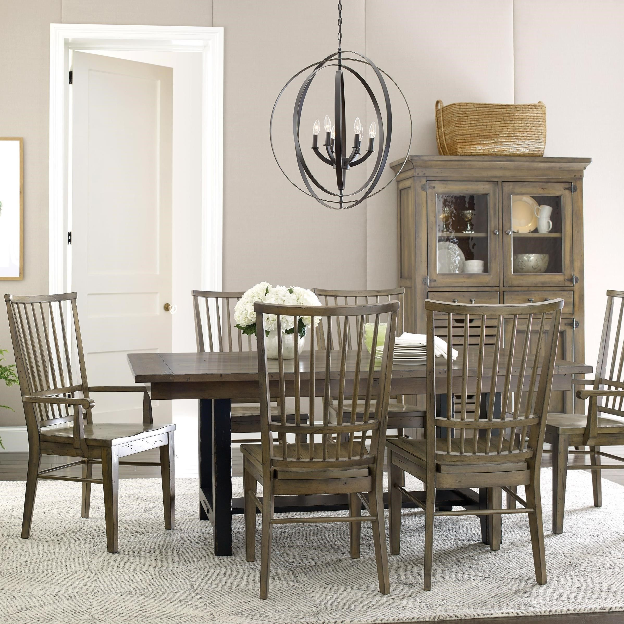 Mill House Dining Table Set With 6 Chairs By Kincaid Furniture In
