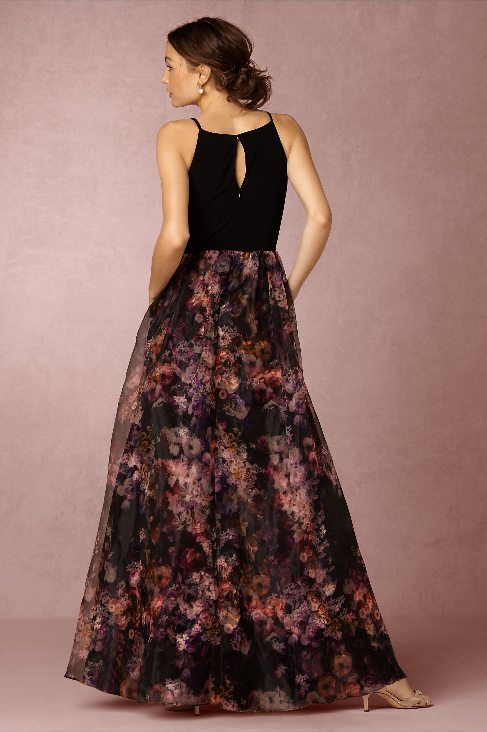 Beautiful dress to attend a wedding with keyhole detail in the back and contrast waist detail ...