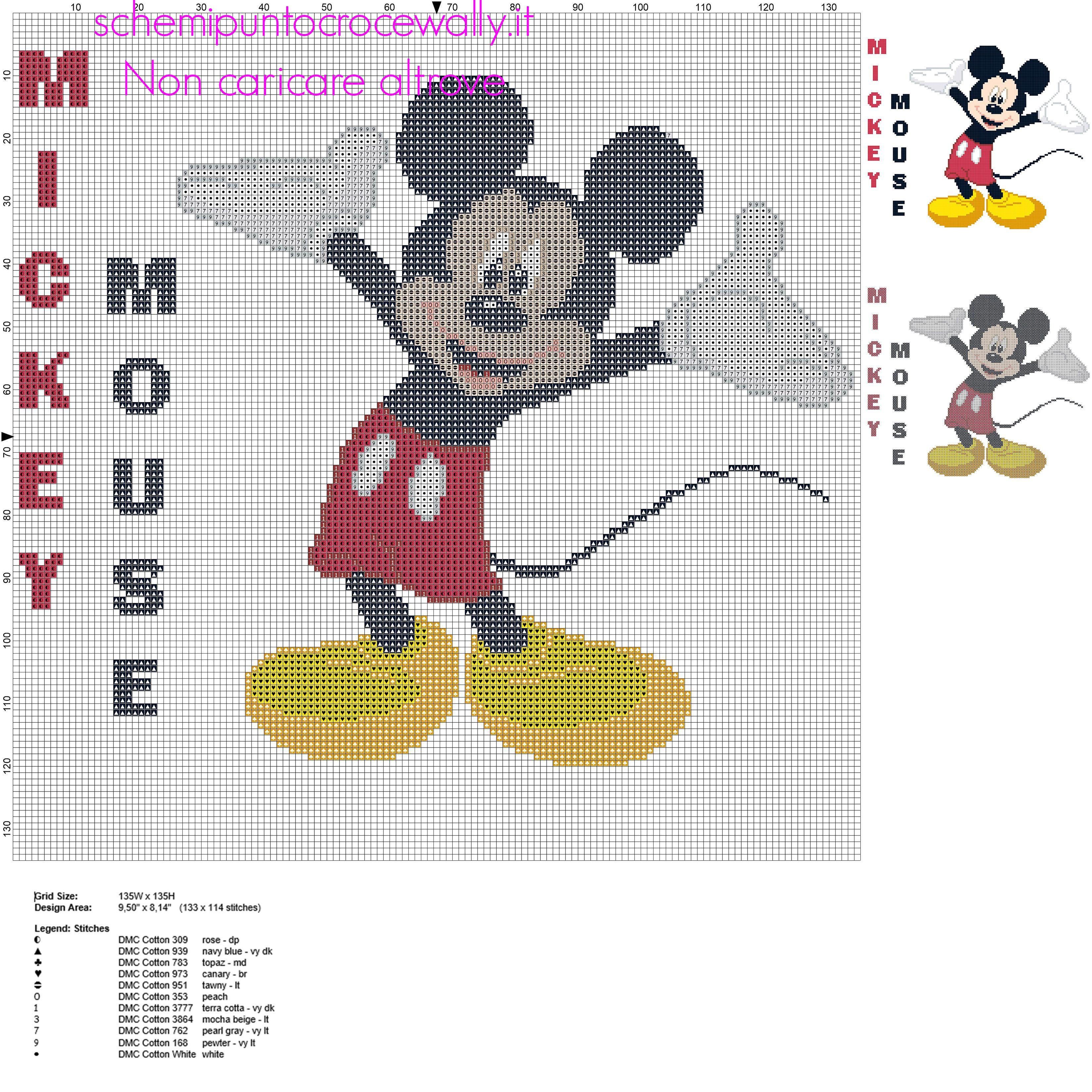 Disney Topolino grande schema punto croce circa 150 crocette idea ...