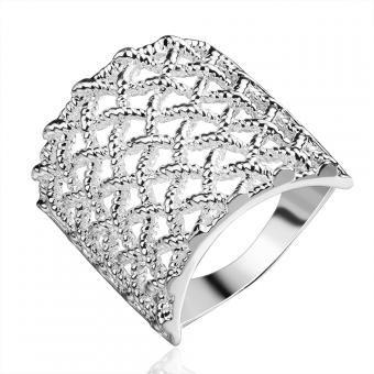 5e50bb950431 Plata cromado nuevo anillo de dedo diseño para dama
