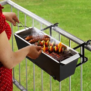 Flower box meets grill. Might be fun to have a small charcoal grill on the deck!