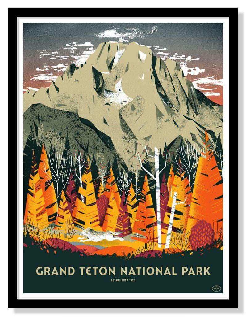 Snake River Wpa Style Art Print Original Grand Teton National Park Poster Fifasteluce Com