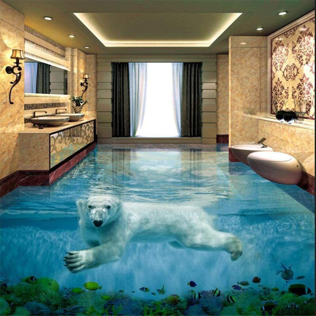 Eisbar Unterwasserwelt 3d Stereo Badezimmer Boden Grosse Benutzerdefinierte Wasserdichte Tapete 250 175cm In 2020 Badezimmer 3d Boden Wohnzimmer Bodenbelag Tapeten