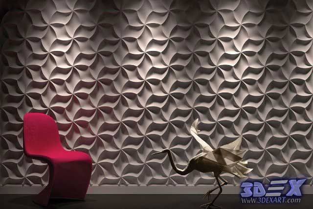 Decorative 3d Gypsum Wall Panels With Lighting, Plaster