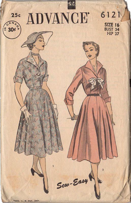 Vintage 1950s Advance Sewing Pattern 6121 Knee Length Dress Full Skirt Bust 34