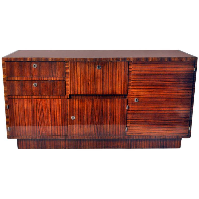 art deco bauhaus credenza with black glass from a unique collection of antique and modern credenzas at