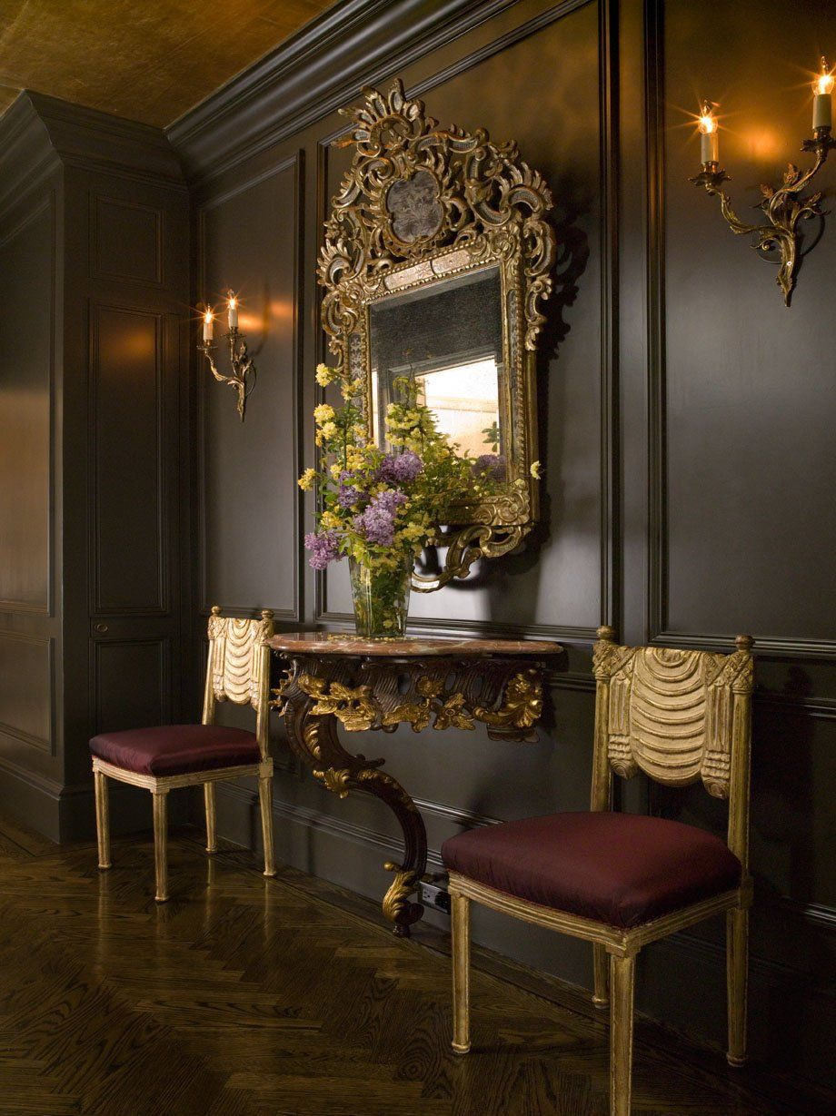 Panelled Room: Didn't Think About Such Dark Walls With Gold Accents In