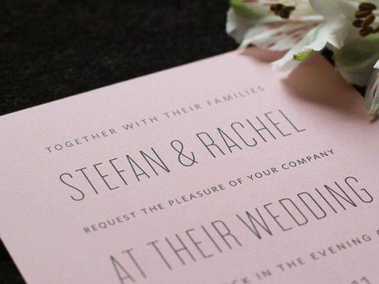 Rachel + Stefanu0027s Modern Pink Wedding Invitations Modern - best of wedding invitation design fonts