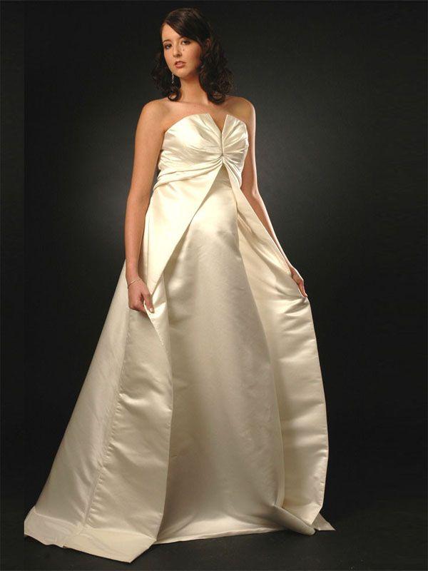 Satin Empire Waistline Floor Length Maternity Dress-Dressfame.com ...