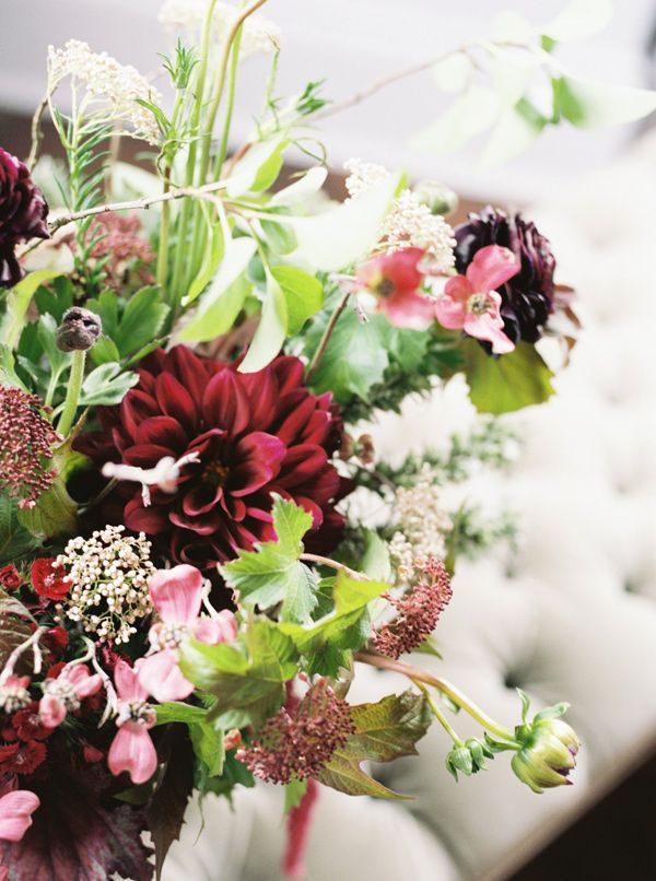 marsala floral arrangement - photo by Christa Taylor http://ruffledblog.com/old-schoolhouse-wedding-editorial-with-marsala