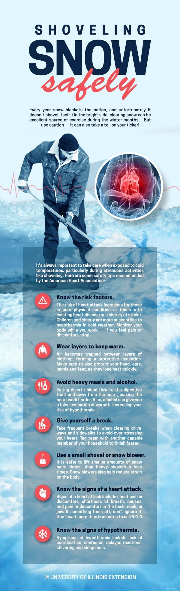 Shoveling Snow Safely Cold weather tips! infographic