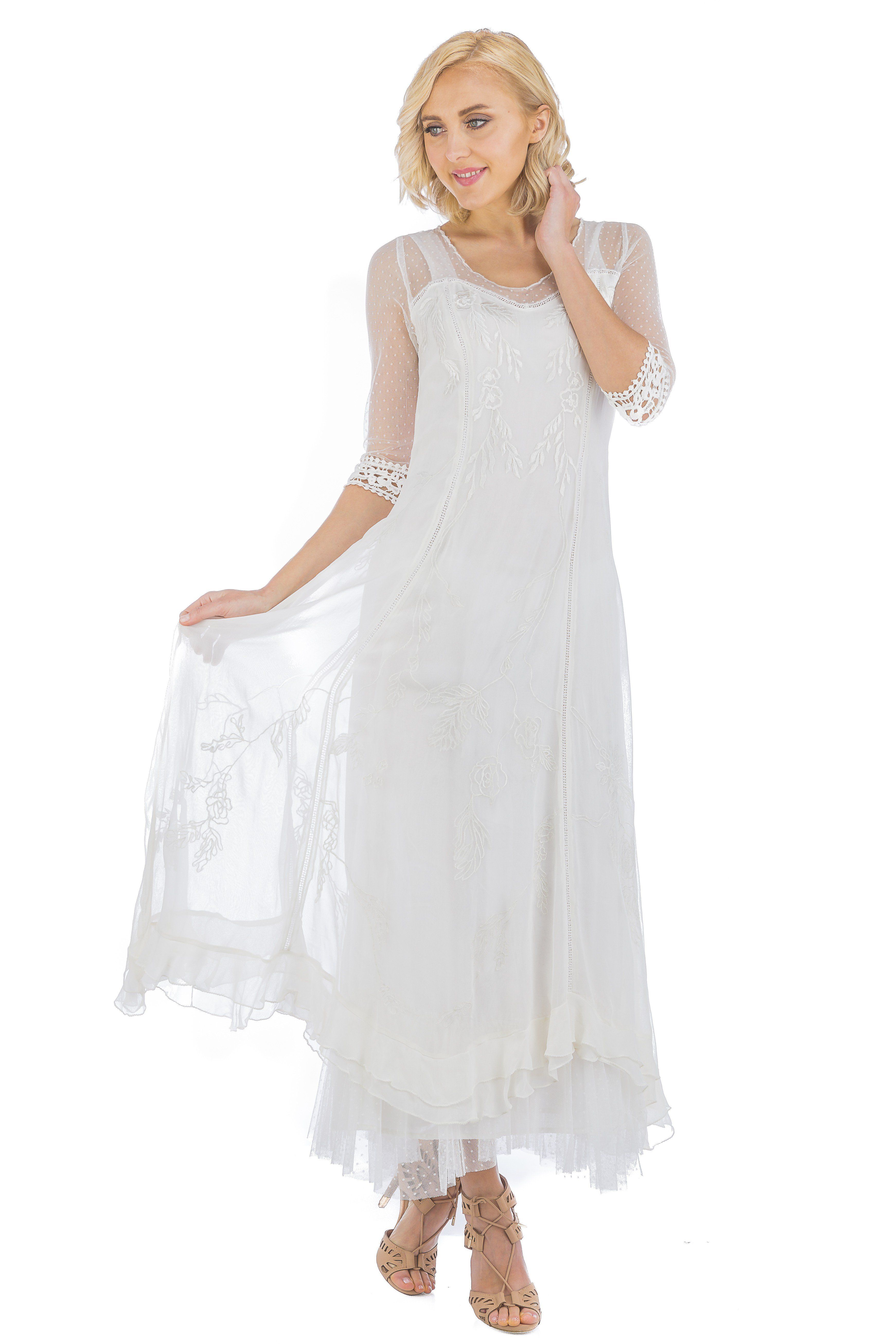2ca651d5038b Vintage style wedding dress - white lace long 1910s to 1930s, boho style  wedding dress