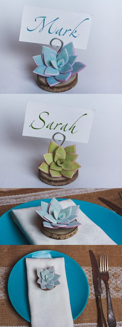 10 set Succulent Place Card stands Rustic Wedding decor Table Decor Bridal Showers Party Succulent favors Rustic wood escort cards holders is part of Succulent Table decor - ASDecoRustic
