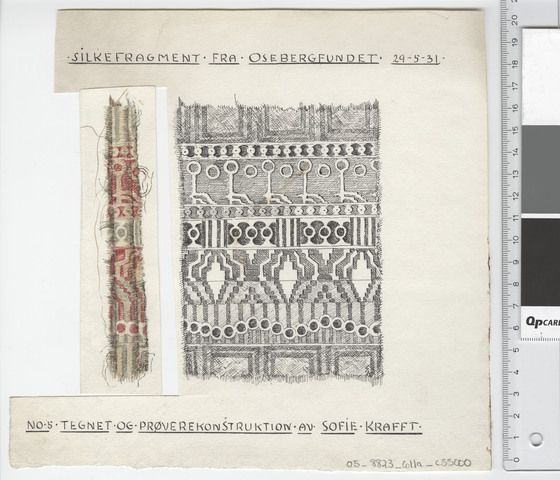 Oseberg Findings from folder 'Oseberg, textiles - silk': Silk Fabric 9, fragment 5. The character of Sofie Krafft: a / ink drawing ('trying construction') and b / watercolor ('character') and cut out. Measure A / B: 22 cm, H: 21 cm, b / B: 3.5 cm, H: 14 cm.