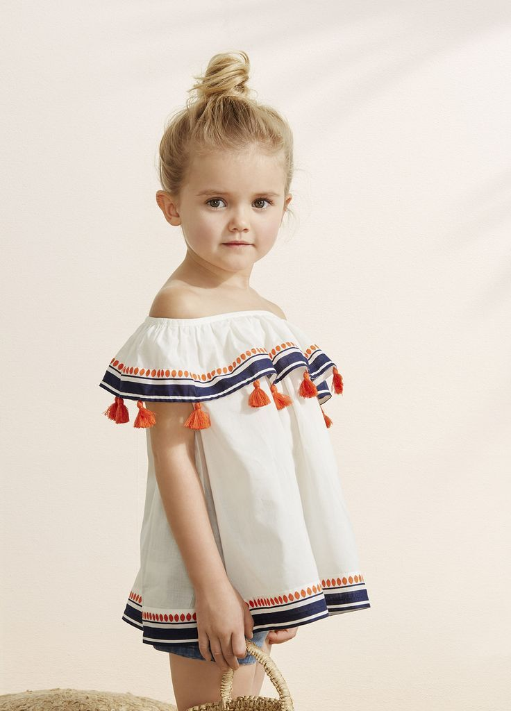 Adorable Off The Shoulder Top With Tassels For Little