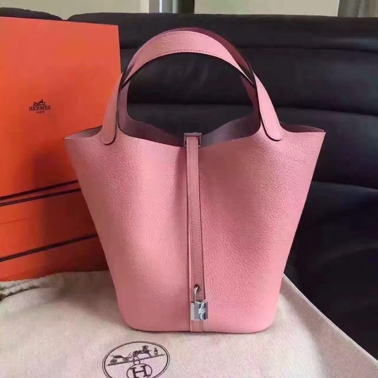 034be06feb8f Hermes Sakura Pink Picotin Lock 18 Togo Leather Bag #hermes #hermespicotin  #hermesbag