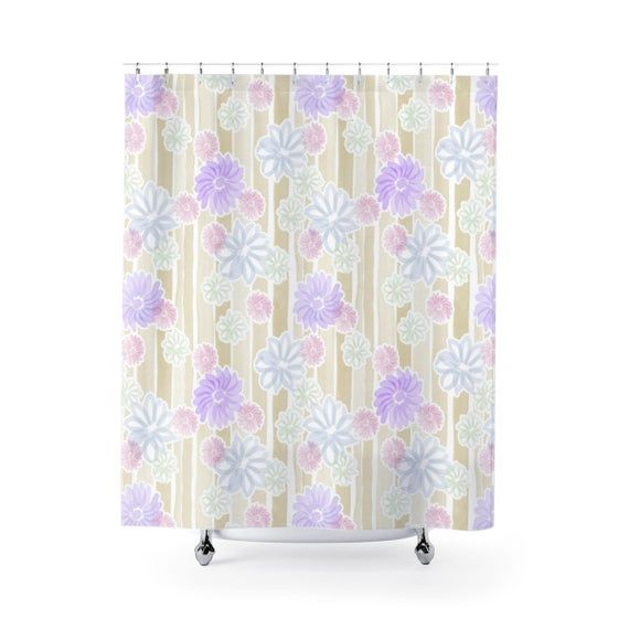 Feminine Bath Curtain Flower Shower Curtain Spring Summer