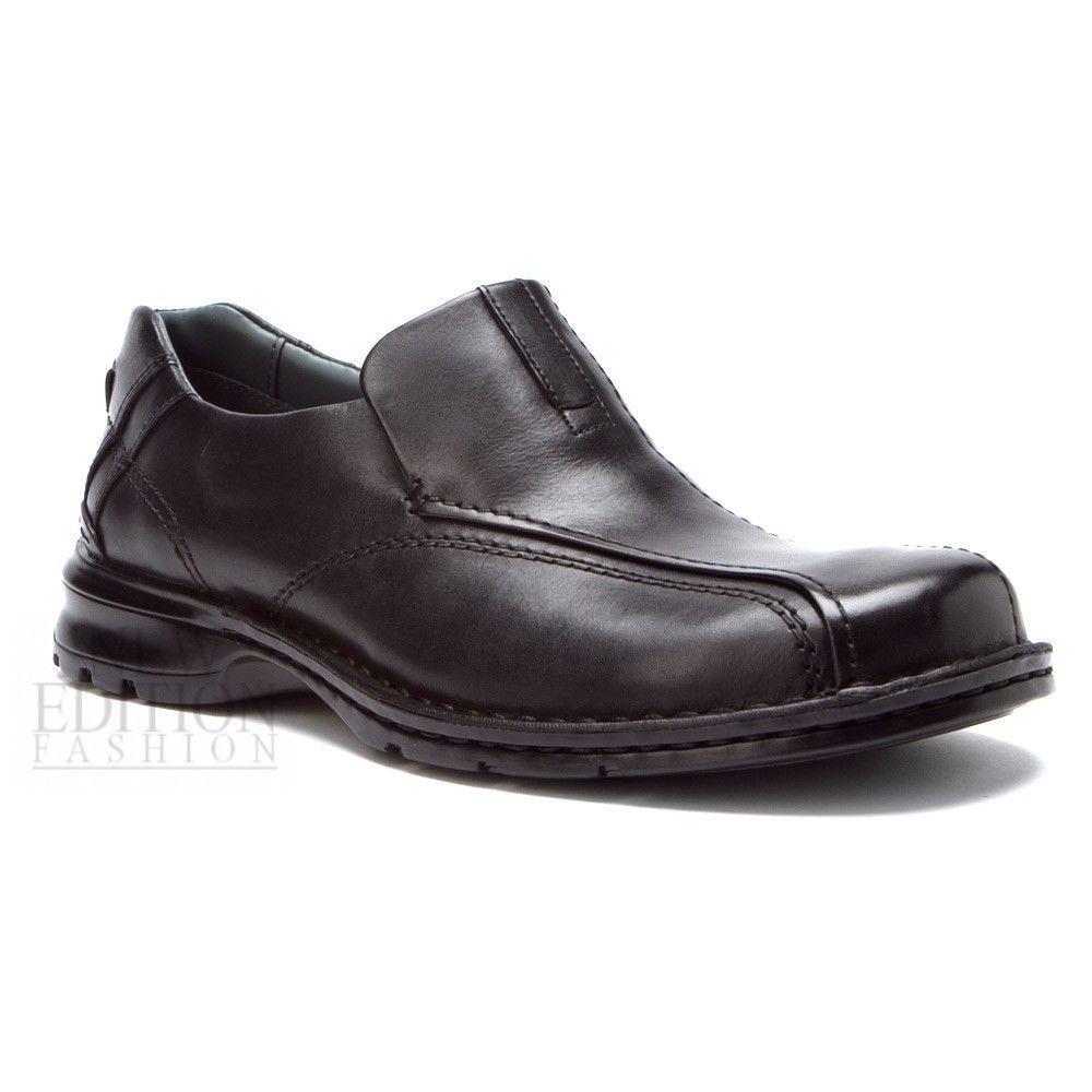 78fba94d63da Clarks Escalade Men s Burnished Leather Slip On Shoes Style 70845 Black