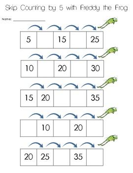 Skip counting worksheet with Freddy Frog | 1st grade math ...