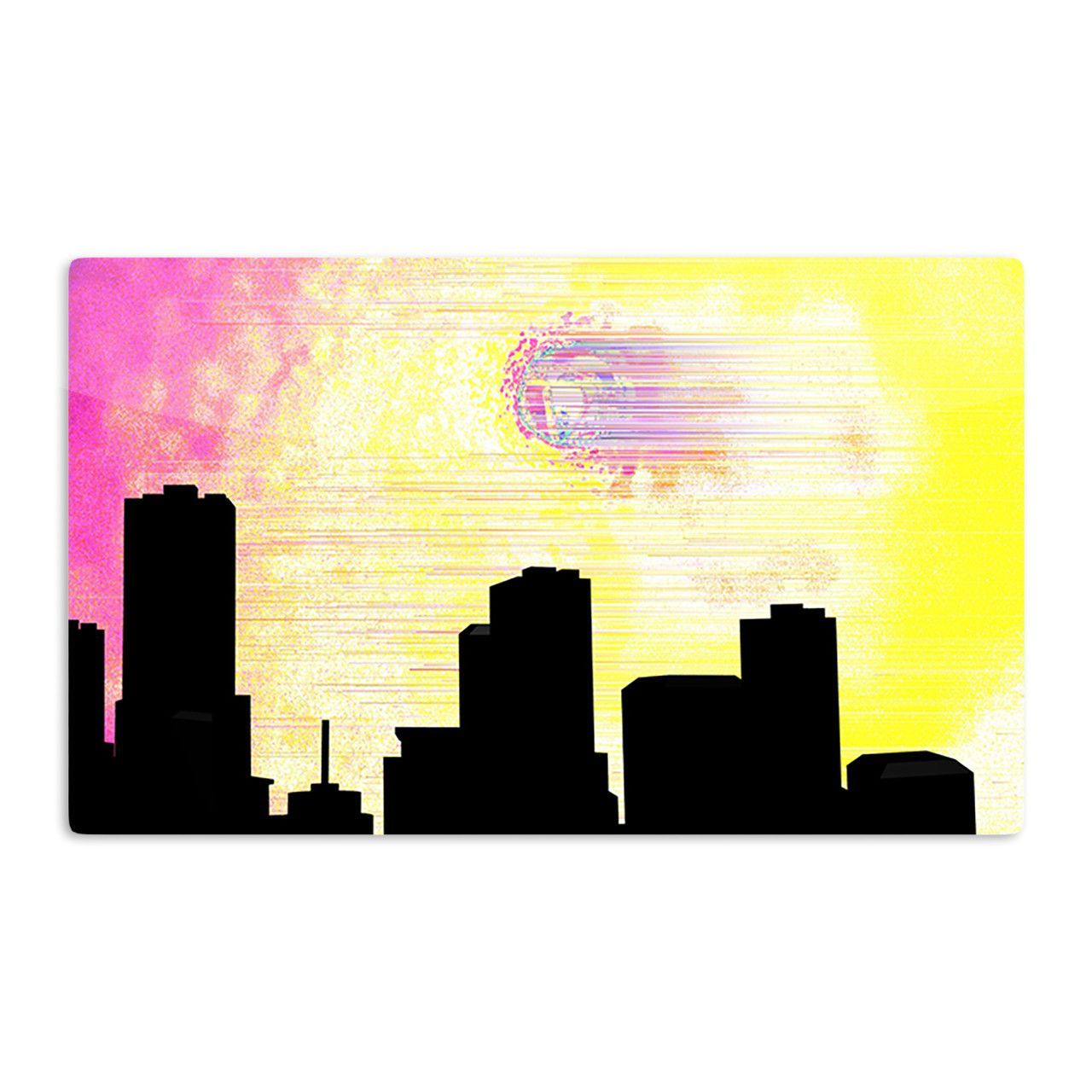 "Infinite Spray Art ""Skylined"" Pink Yellow Aluminum Artistic Magnet"