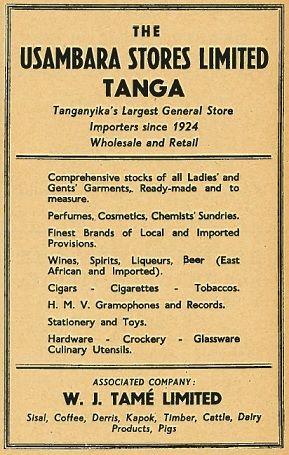 Usambara Stores Ltd Tanga Ad 1951 | Colonial Kenya in 2019