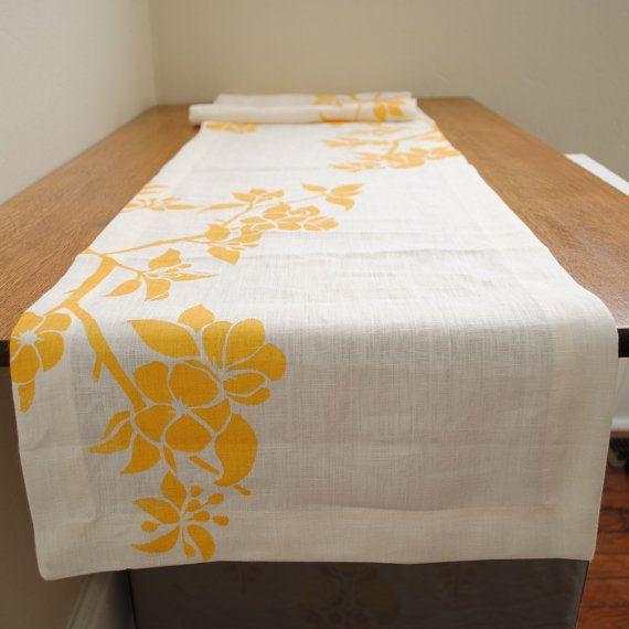 Hemp Linen Block Printed Table Runner In Apple By HomeSweet, $50.00