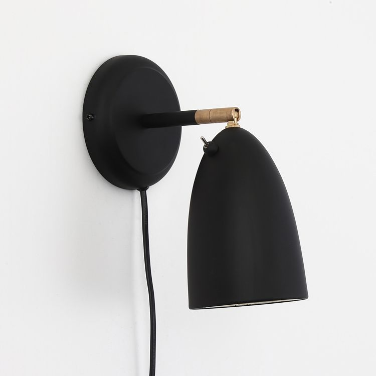 Scandinavian Style 1 Light Plug In Rotatable Wall Sconce In Black In 2020 Wall Sconces Plug In Wall Sconce Sconces