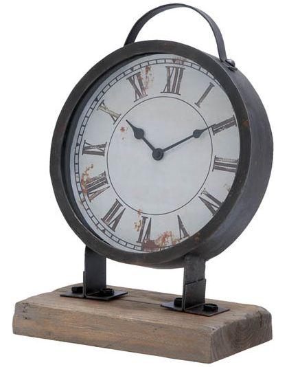 $32.50 {FREE SHIPPING} Distressed Metal Clock on Wooden Block ~Enjoy one decor deal a day from WUSLU ~www.wuslu.com