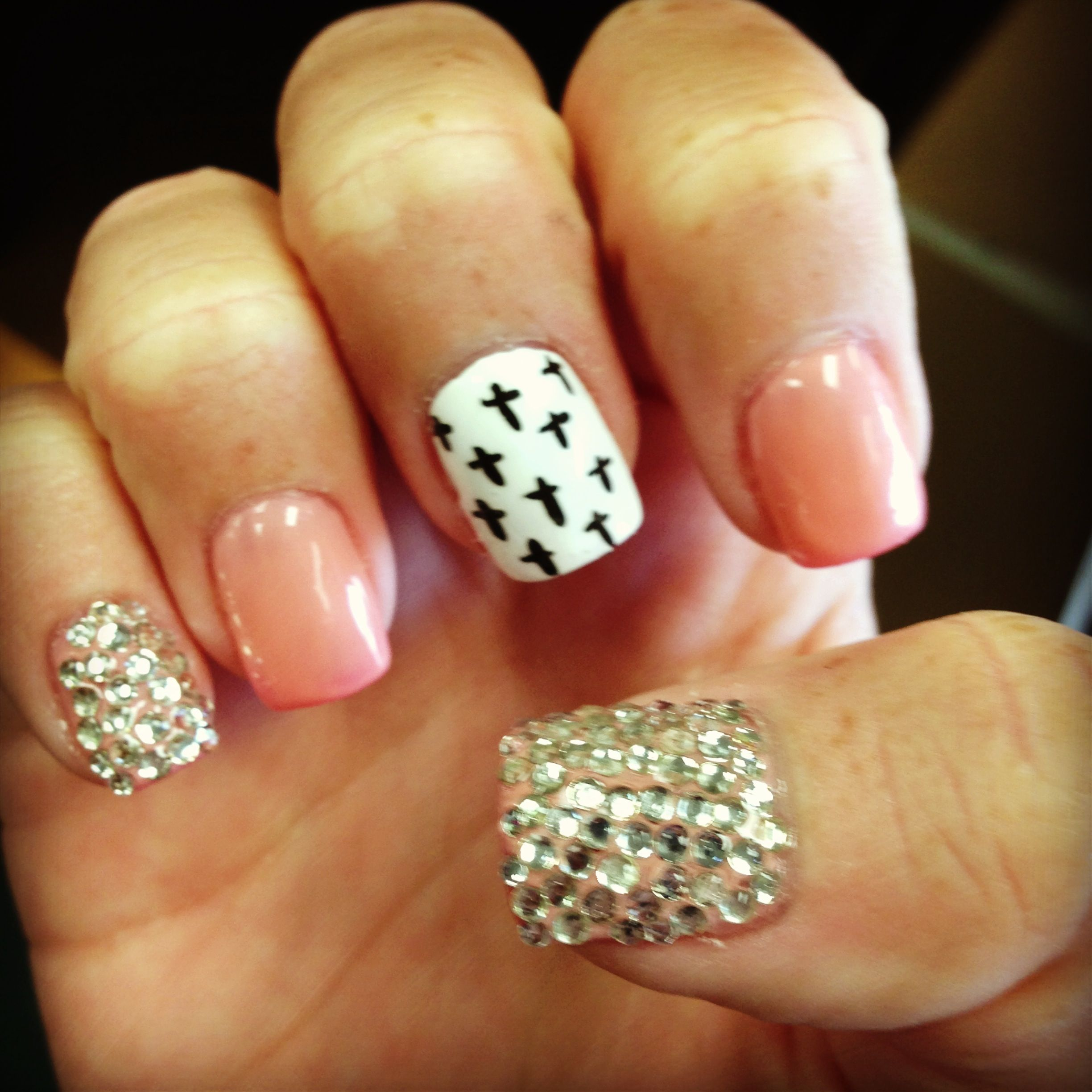 Acrylic Nail Designs With Crosses: Sparkle Pink Cross Nails