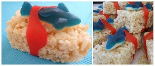 Shark Pool Party Ideas shark bait little mermaid ariel birthday party ideas Shark Bites Rice Krispie Treats