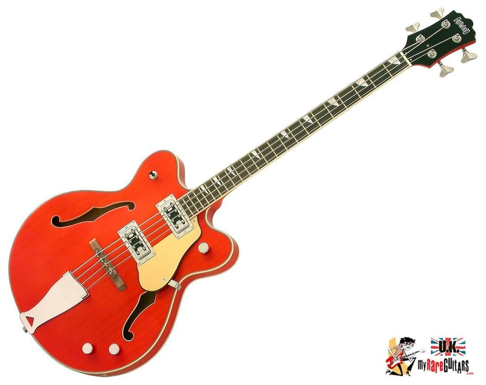 Eastwood Classic 4 Orange Semi Acoustic Bass Guitar Music Stuff